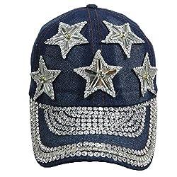 Jewel Studded Baseball Cap With Rhinestone