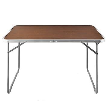 Deuba Alu Campingtisch Tisch Holzoptik Gartentisch Beistelltisch