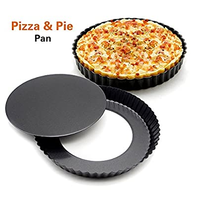 Hiltow Non-stick 9 inch Pizza Pan, Quiche Pan With Removable Bottom, Removable Loose Bottom Quiche Pan, Tart Pie Pan Quiche pan, tart pan, pie pan, pizza pan