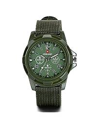 JewelryWe Men's Military Army Pilot Aviator Style Outdoor Sports Watch Fabric Canvas Strap Wrirstwatch (Armygreen Dial)