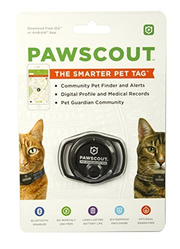 Pawscout Smarter Pet Tag: Cat Version Community Pet Tracker (Bluetooth, not GPS), Medical Profiles, Virtual Pet Leash, Pet Points of Interest