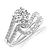 2.45 Carat t.w. ROUND Shape/Center Silver Curving Pave & Prong-set Round CZ Engagement Ring and Wedding Band Set