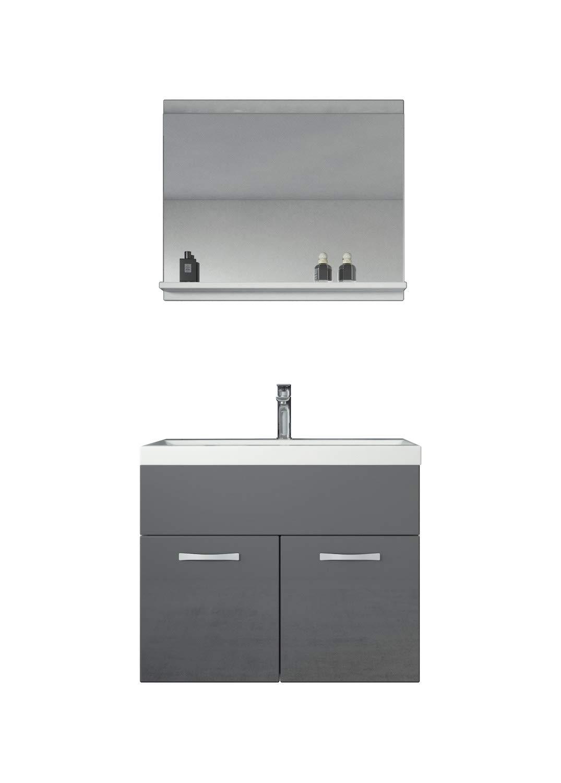 Badplaats Storage cabinet Montreal 131cm height grey high gloss Storage cabinet tall cupboard bathroom furniture
