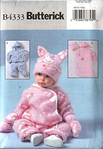 Butterick Sewing Pattern 4333 Baby Infant Size S-XL Easy Fleece Bunting Jacket Pants Jumpsuit Hat Mittens