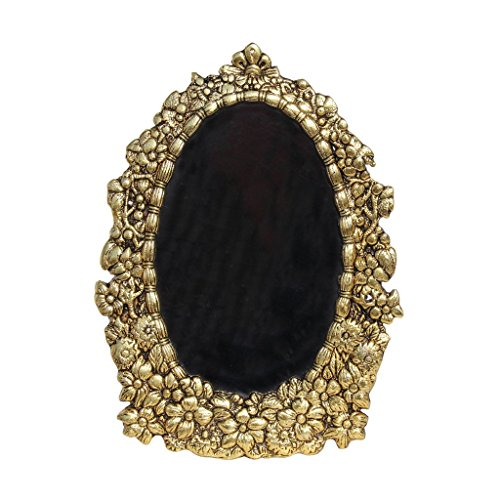 HANDICRAFTS PARADISE Photo Frame Antique Golden Oval Shaped With Floral (Gold Oval Shaped Accent)