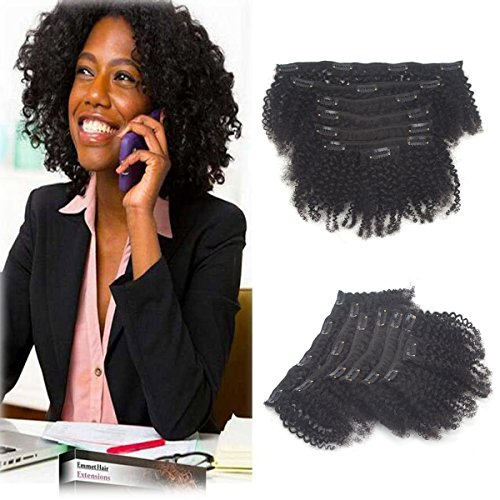 Full Head Afro kinky curly Hair Weave brazilian Clip in Virg