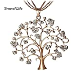 """""""Family Tree of Life"""" Pendant Necklace Crystal Necklace for Women Jewelry Gold Rose"""