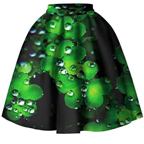 Women 3D Printed Green Shamrock Skirts High Waist Flared Pleated Skirt -