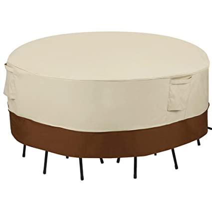SONGMICS Outdoor Round Patio Table and Chairs Cover 70, Waterproof, Windproof UGTC72M