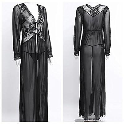 TiaoBug Women sexy Long Sleeve Mesh Bathrobe See-through Nightgown with G-String