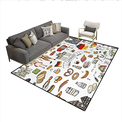 (Rug,Hand Drawn Doodle of German Culture Icons Football Jersey Food Science and Music,Floor Mat for Kids,MulticolorSize:5'x8')