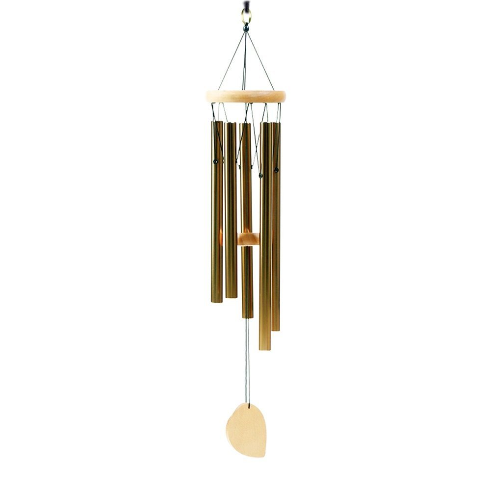 Aipker 50% OFF Wind Chimes for Outdoor Garden Home Patio - Amazing Grace Wind Chime with 5 Long Aluminum Tubes Gold