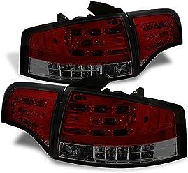 Audi 05-08 A4 S4 RS4 B7 Sedan Black Housing LED Rear Tail Lights Brake Lamp