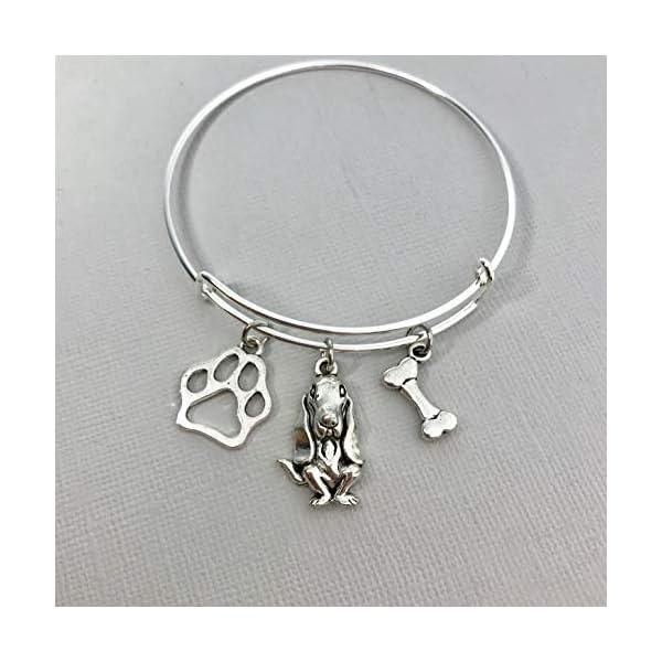 Basset Hound Jewelry for Women, Dog Mom gifts Bracelet paw print bone 1