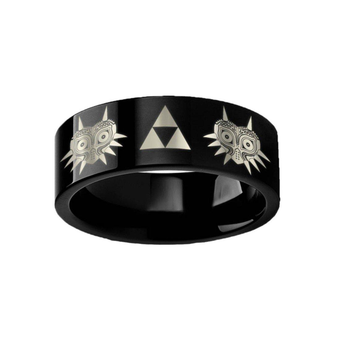 Thorsten Legend of Zelda Majora Mask Triforce Black Tungsten 8mm Wide Ring Wedding Band from Roy Rose Jewelry