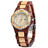 GBlife BEWELL Wooden Women Quartz Watch with Luminous Hands Metal Case 30M Water Resistance