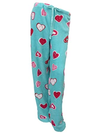 Womens Green Heart Print Sleep Pants Fleece Pajama Bottoms Lounge Pants Large