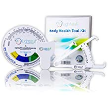 Body Fat Caliper, Body Tape Measure, BMI Calculator - Instructions For Skinfold Caliper and Body Fat Charts Included: 2018 Version