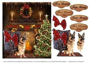De Papá Noel Diseño de pastor alemán y Decoupage por Barbara Hiebert