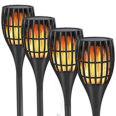 YUJENY Solar Flame Torch Lights, Waterproof Dance Flame Lighting Solar Garden Light Outdoor Landscape Decoration Lighting Dusk to Dawn Auto On/Off
