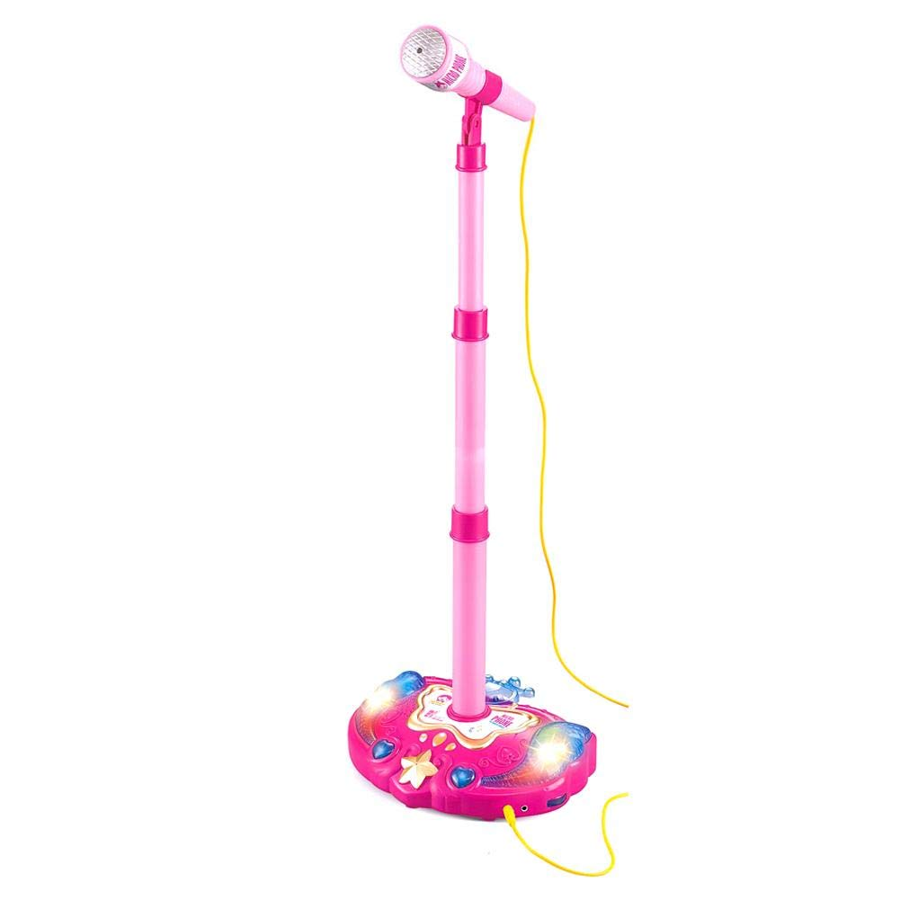 Kids Karaoke Machine with Microphones and Adjustable Stand, Music Sing Along with Flashing Stage Lights and Pedals for Fun Musical Effects by Lijuan Qin (Image #1)