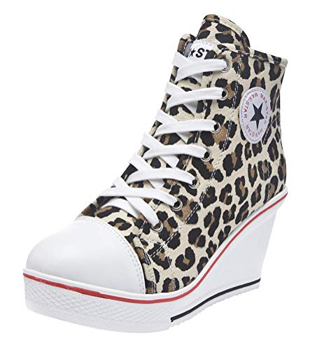 Brown Leopard Peep Toe - ACE SHOCK Women Wedge Sneakers Wide Width Fashion High Heeled Platform Canvas Shoes (US 8, Star Closed-Toe Leopard)