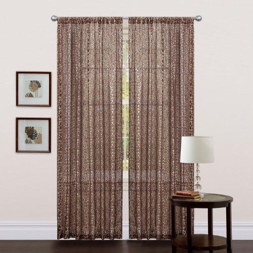 Triangle Home Fashions U19662Q11 Lush Decor 84 Inch Leopard Curtain Panel,  Brown