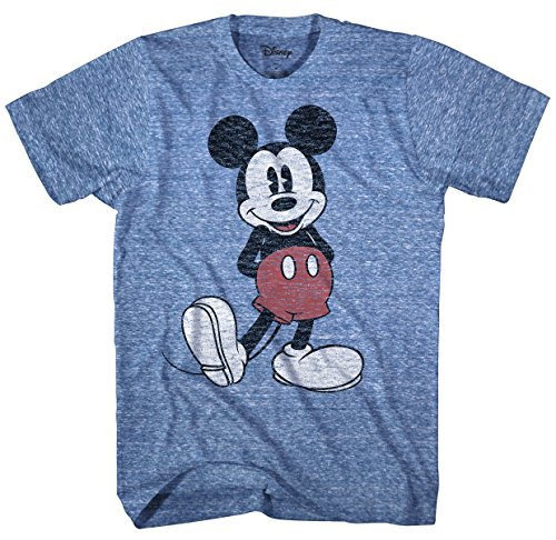 Mouse Vintage Mickey - Disney Men's Full Size Mickey Mouse Distressed Look T-Shirt, Royal Snow Heather, Large