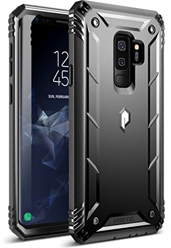 Poetic Galaxy S9 Plus Rugged Case, Revolution [360 Degree Protection] Full-Body Rugged Heavy Duty Case with [Built-in-Screen Protector] for Samsung Galaxy S9 Plus Black