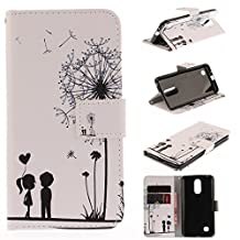 LG Aristo MS210 Case,LG K8 2017 Case,LG LV3 Case,I-VIKKLY [Kickstand Feature] Magnetic Snap Premium PU Leather Wallet with Built-in Card Slot Folio Flip Cover Case for LG LV3 (Dandelion love)