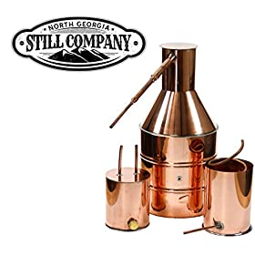 5 Gallon Copper Moonshine Whiskey & Brandy Still with Worm & Thumper, 1/2 OD Tubing between Still & Thumper, 3/8 OD Tubing between Thumper & Worm by North Georgia Still Company
