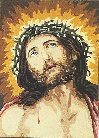 JESUS CROWN OF THORNS ECCE HOMO D'APRES GUIDO RENI NEEDLEPOINT CANVAS - Royal Paris Needlepoint