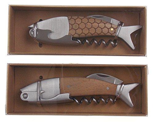 Fish Shape 2 in 1 Bottle Opener Corkscrew Bundle Set 2 Light Wood