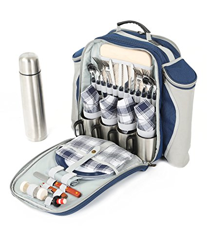 Greenfield Collection Super Deluxe Picnic Backpack Hamper for Four People in Midnight Blue - Fitted Backpack Range