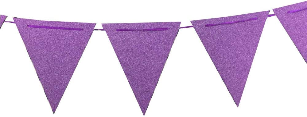 ZOOYOO 20 Feet Purple Glitter Pennant Banner, Paper Triangle Flags Bunting for Baby Birthday Party, Wedding Decor, Baby Shower, 30pcs Flags, Pack of 1(One 20 Feet or Two 10 Feet)