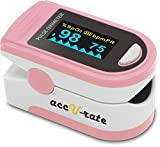 Acc U Rate Pro Series CMS 500D Deluxe Fingertip Pulse Oximeter Blood Oxygen Saturation Monitor with silicon cover, batteries and lanyard (Pink)