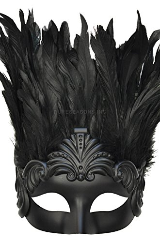 Pure Seasons Feathered Titan God Masquerade Mask (Black)-Standard (Feathered Masquerade Mask)