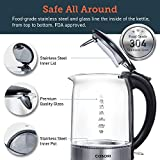 COSORI 1.7L Electric Kettle(BPA-Free),Cordless Glass Boiler Hot Water & Tea Heater with LED Indicator Light,Auto Shut-Off & Boil-Dry Protection,100% Stainless Steel Inner Lid & Bottom, 2-Year Warranty