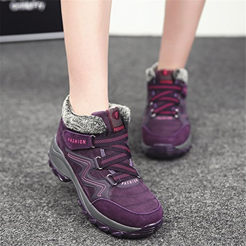 Casual de Botas Calentar Libre Nieve con Zapatos Botines Mujer y Aire Al Plataforma Forradas Invierno de Morado Velcro BwOOxq08v