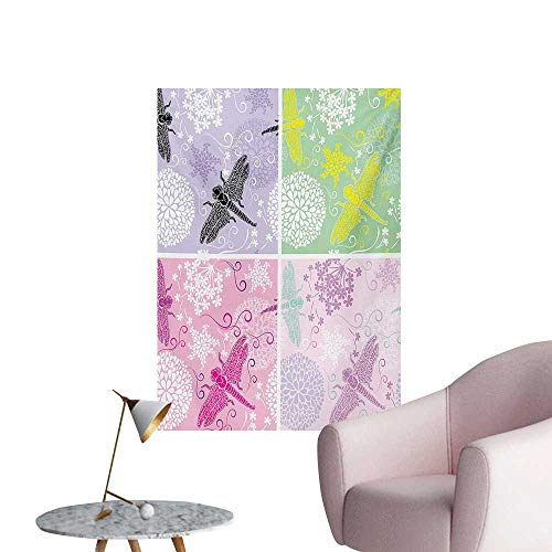 - Anzhutwelve Dragonfly Wall Sticker Decals Floral Frame Pattern with Dragonfly and Dandelion Blooms Ornate Image NatureMulticolor W32 xL48 The Office Poster
