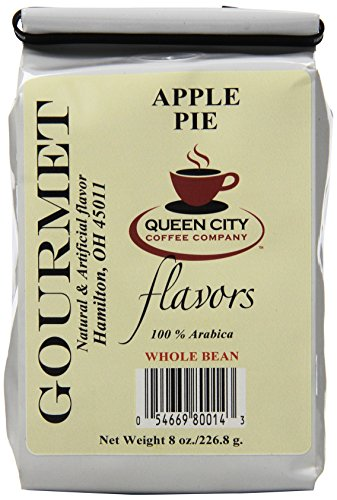 Queen City Apple Pie Flavored Whole Bean Coffee, 8-Ounce Bags (Pack of