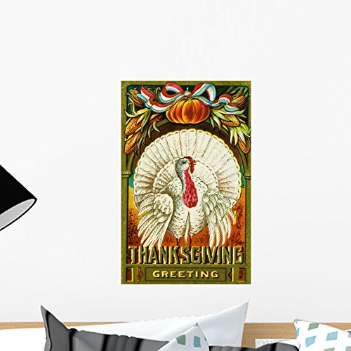 Wallmonkeys Thanksgiving Greeting Postcard Wall Decal Peel and Stick Graphic WM197262 (18 in H x 12 in (Thanksgiving Greetings Postcard)