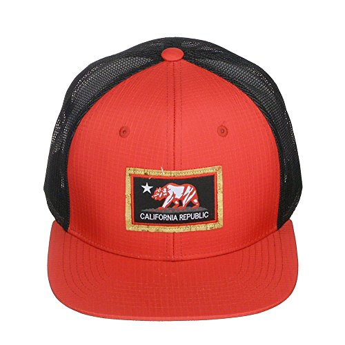 California Republic Bear Logo Snapback Vented Mesh Hat Baseball Cap - Black/Red (Bear Fashion Cap Logo)