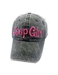 Waldeal Unisex Jeep Girl Vintage Distressed Adjustable Baseball Caps Washed Denim Dat Hats