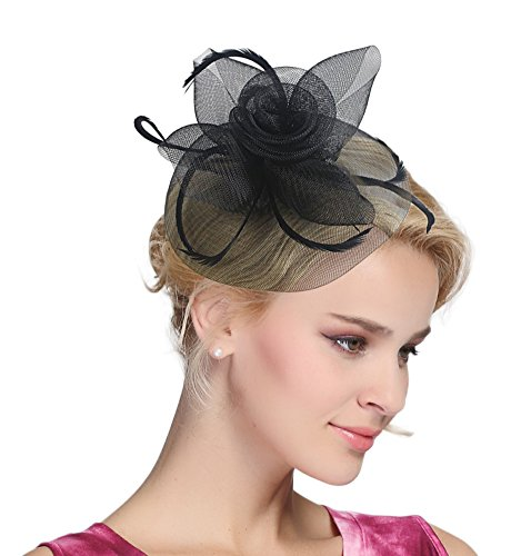 Urban CoCo Women's Vintage Flower Feather Mesh Net Fascinator Hair Clip Hat for Party Wedding (Black) ()