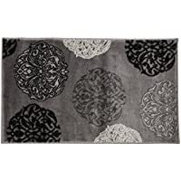 SummitS45 New Grey Black Transitional Area Rug Modern Abstract Rug (22 INCH X 35 INCH SCATTER DOOR MAT SIZE)