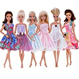 BJDBUS 6 Pcs Fashion Wedding Ball Mini Gown Strapless Dress Party Clothes for Barbie Doll Accessories