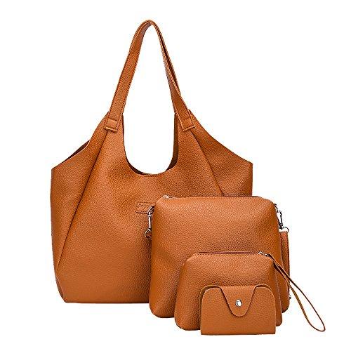 Della 4pcs Carta Supporto Borsa Bag Dorame Shoulder Marrone Dell'unità Del Delle Modo Di Tote Set Donne Cuoio Elaborazione n6nFxYqBwf