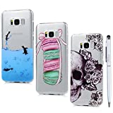S8 Case Clear MAXFE.CO for Samsung S8 Case Crystal Clear [3 Pack] Ultra Thin Slim Fit Shockproof Premium Silicone Rubber Cases for Samsung Galaxy S8 & One Touch Pen, Skull Flower & Penguin & Macaroon