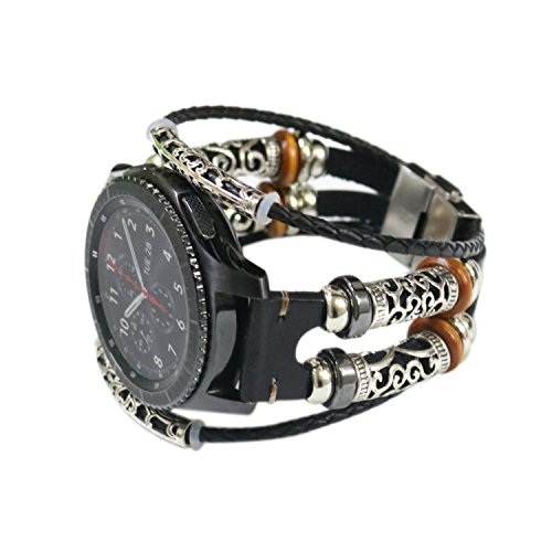 Compatible with Samsung Galaxy Watch 46mm/ Gear S3 Bands, 22mm Elegance Vintage Leather Replacement Bands Straps Wristbands with Metal Clasp Accessories for Galaxy Watch 46mm/ Gear S3 (Black)